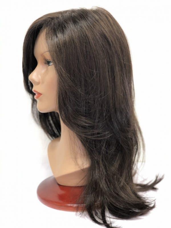 peluca de pelo sintetico color castaño